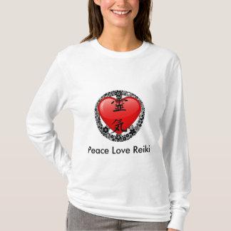 Camiseta Luva-opção longa 2 de Reiki Hoody do amor da paz