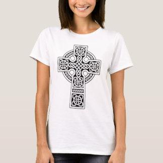 Camiseta Luz da cruz celta branca e preta