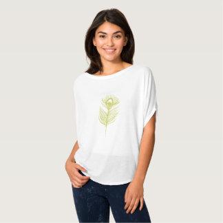 Camiseta Luz do t-shirt da pena do pavão - verde