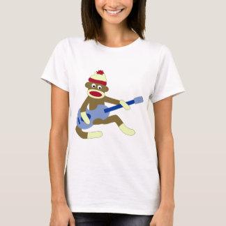 Camiseta Macaco da peúga que joga a guitarra azul