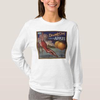 Camiseta Maçãs da menina do mergulho