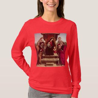 Camiseta Madonna e criança Enthroned com santos por Raphael