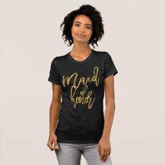 Camiseta Madrinha de casamento do efeito da folha de ouro