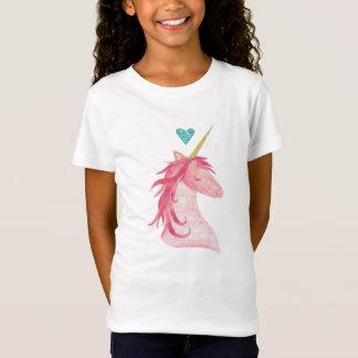 Camiseta Mágica cor-de-rosa do unicórnio com coração
