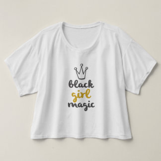 Camiseta Mágica da menina do preto da coroa do ouro