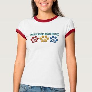 Camiseta MAIOR impressão SUÍÇO 1 da pata da mamã do CÃO da