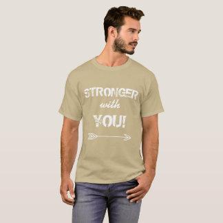 Camiseta MAIS FORTE com você Tshirt do bege do seixo do
