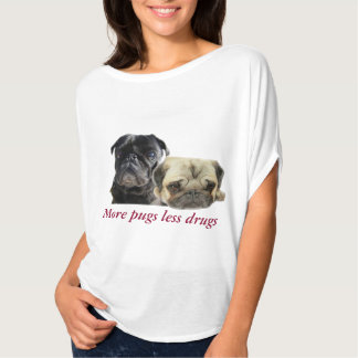 Camiseta Mais pugs menos drogas - 2 pugs
