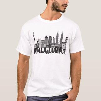 Camiseta Mal preto e branco do texto da skyline da cidade