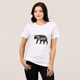 Camiseta Mama Carregamento Flor Coroa da aguarela - urso