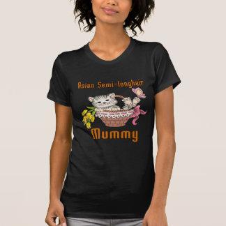 Camiseta Mamã Semi-longhair asiática do gato