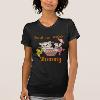 Camiseta Mamã semi-longhair britânica do gato