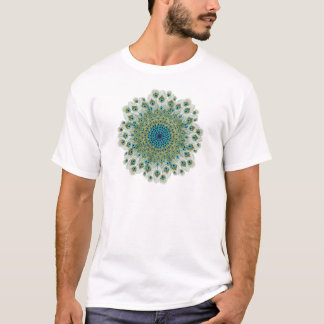 Camiseta Mandala colorida do pavão masculino