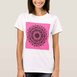 Camiseta mandala - preto no rosa