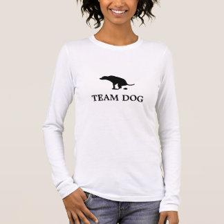 Camiseta Manga Longa A luva longa das mulheres do cão da equipe