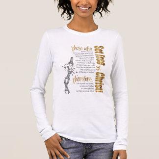 """Camiseta Manga Longa """"Ajuste livre T longo da luva no cristo"""""""