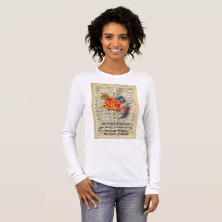 Camiseta Manga Longa Alice da mulher longa da luva do coelho do país