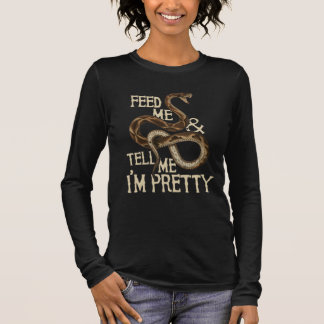 Camiseta Manga Longa Alimente-me e diga-me que eu sou cobra bonito