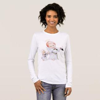 Camiseta Manga Longa Anjo bonito e gato do bebê
