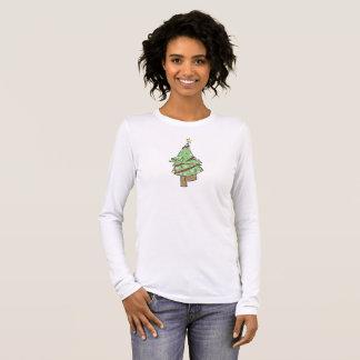 Camiseta Manga Longa Árvore de Natal - pose da árvore da ioga