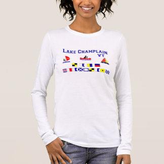 Camiseta Manga Longa Bandeiras de sinal do VT de Champlain do lago