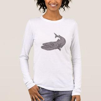 Camiseta Manga Longa Barracuda que nada abaixo do desenho