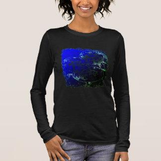 Camiseta Manga Longa Bolhas e flores da estrela do mar no néon tropical