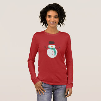 Camiseta Manga Longa Boneco de neve do Natal