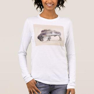 Camiseta Manga Longa búfalo-paisagem exposição-americana Búfalo-dobro