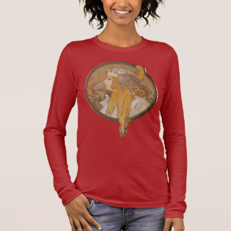 Camiseta Manga Longa Cabeça bizantina do ~ de Alphonse Mucha: O louro
