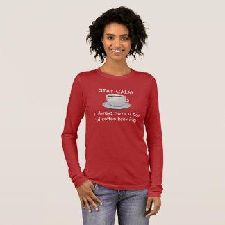 Camiseta Manga Longa Calma da estada - fabricação de cerveja do café