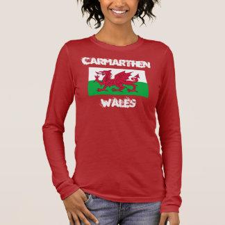 Camiseta Manga Longa Carmarthen, Wales com bandeira de Galês