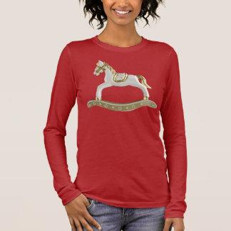 Camiseta Manga Longa Cavalo de balanço bonito do vintage