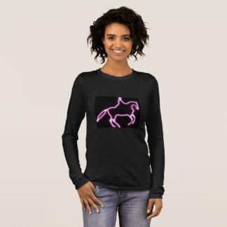 Camiseta Manga Longa Cavalo de néon roxo do adestramento