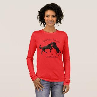 Camiseta Manga Longa Cavalos selvagens da bacia de lavagem da areia,