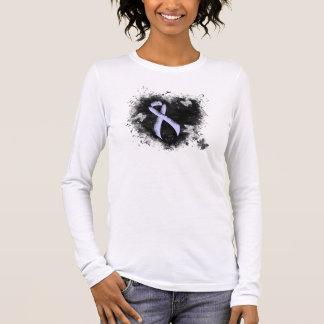 Camiseta Manga Longa Coração do Grunge da fita da pervinca