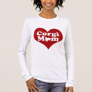 Camiseta Manga Longa Coração do vermelho da mamã do Corgi