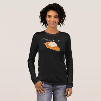 Camiseta Manga Longa Creme do tarte de abóbora no t-shirt superior de