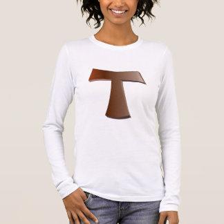 Camiseta Manga Longa Cruz de tau e t-shirt de mogno da oração