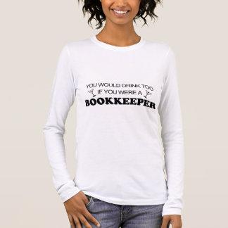 Camiseta Manga Longa Da bebida guarda-livros demasiado -