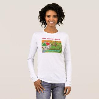 Camiseta Manga Longa Da cena cristã da igreja da fazenda de Iowa