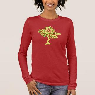 Camiseta Manga Longa Das mulheres longas da luva da árvore amarela do