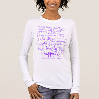 Camiseta Manga Longa Declaração de independência, impressão roxo