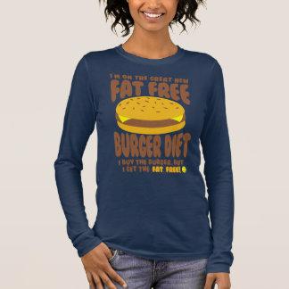 Camiseta Manga Longa Dieta livre de gordura do hamburguer