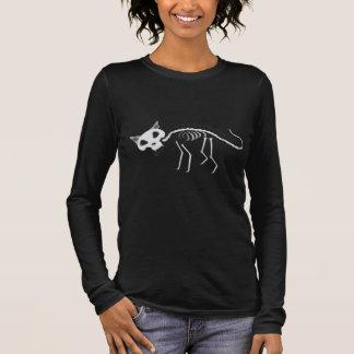 Camiseta Manga Longa Do gato de esqueleto do Scaredy das mulheres