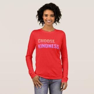 Camiseta Manga Longa Escolha o T Longo-Sleeved confortável da bondade