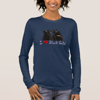 Camiseta Manga Longa Eu amo o t-shirt longo da luva dos gatos pretos