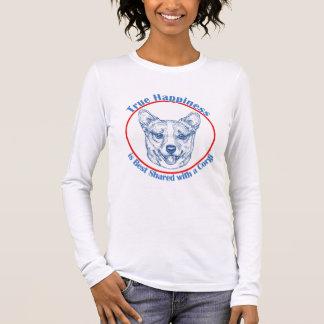 Camiseta Manga Longa Felicidade verdadeira com um Corgi