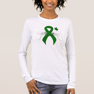 Camiseta Manga Longa Fita verde com borboleta