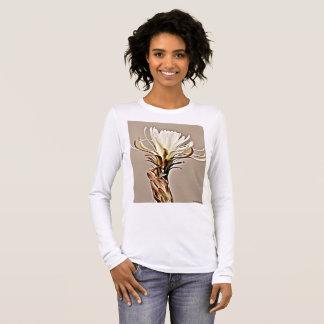 Camiseta Manga Longa Flor branca do cacto no T longo da luva das